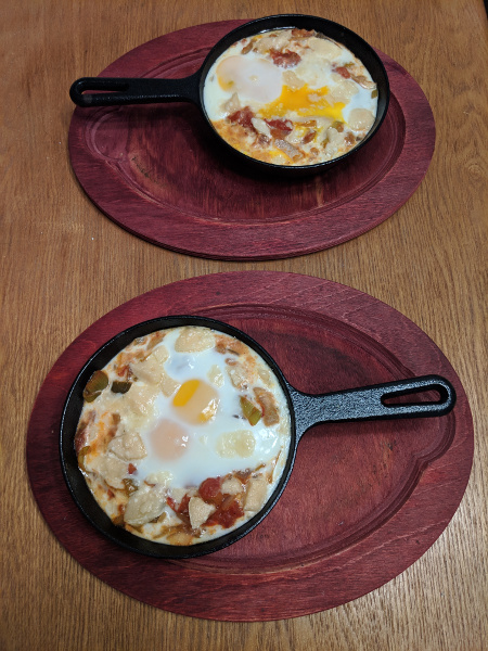 Shakshuka in personal cast-iron pans